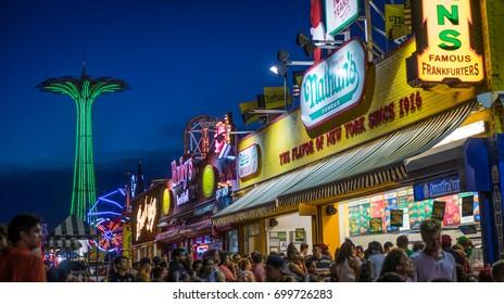 Brooklyn New York - August 4, 2017: Evening view of Coney Island's Luna Park in Brooklyn New York.