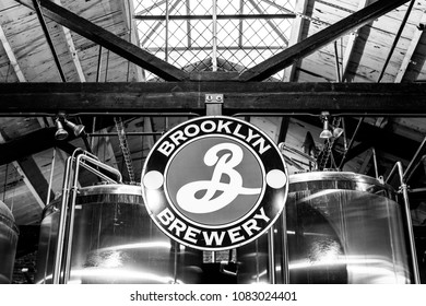 BROOKLYN, NEW YORK - CIRCA MARCH 2017: The Brooklyn Brewery in the Williamsburg neighborhood of Brooklyn, New York is a popular tourist attraction. The brewery brews many craft beer and gives tours.