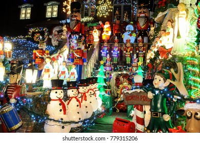 BROOKLYN, NEW YORK - DECEMBER 20, 2017 - Dyker Heights Christmas Lights is the cutest small area of houses that are decorated for the holiday season in the Brooklyn Metropolitan Area, New York