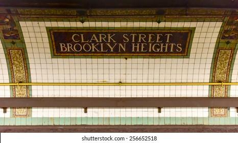 BROOKLYN, NEW YORK - FEBRUARY 22, 2015: Clark Street Station in Brooklyn Heights on the New York Subway, Metropolitan Transit Authority.