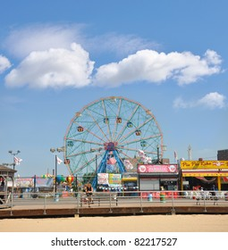 BROOKLYN, NEW YORK - JUL 18: Coney Island known for its boardwalk restaurants and amusement park is a peninsula and beach on the Atlantic Ocean in southern Brooklyn New York, July 18, 2010.