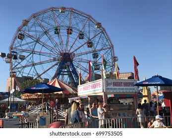 BROOKLYN, NEW YORK - JUN 24: Coney Island in Brooklyn, New York, as seen on June 24, 2017. Coney Island is well known as the site of amusement parks and a seaside resort.