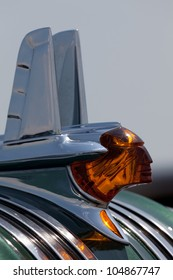 BROOKLYN, NEW YORK - JUNE 10: Closeup of the hood ornament of the 1953 Pontiac Chieftain at the Antique Automobile Association of Brooklyn Annual Show on June 10, 2012 in Brooklyn, New York, USA.