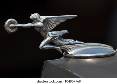 BROOKLYN, NEW YORK - JUNE 10: Closeup of the 1932 Chrysler hood ornament at the Antique Automobile Association of Brooklyn Annual Show on June 10, 2012 in Brooklyn, New York, USA.