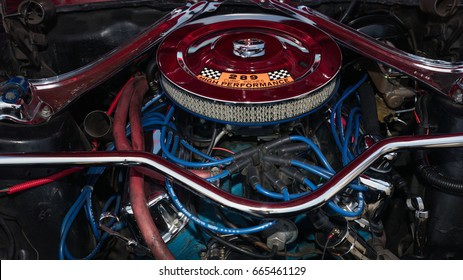BROOKLYN, NEW YORK - JUNE 11 2017: A 1968 Ford Mustang engine on display at the Antique Automobile Association of Brooklyn Annual Show at the Floyd Bennett Field in Brooklyn, New York, USA.