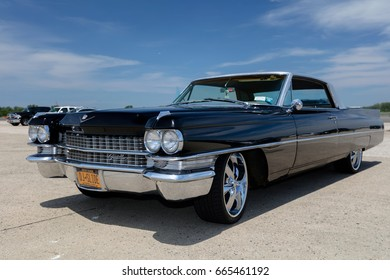 BROOKLYN, NEW YORK - JUNE 11 2017: A 1963 Cadillac on display at the Antique Automobile Association of Brooklyn Annual Show at the Floyd Bennett Field in Brooklyn, New York, USA.