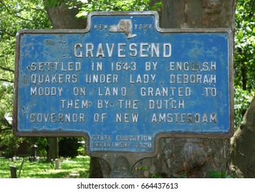 BROOKLYN, NEW YORK - JUNE 21, 2017: Gravesend Memorial Sign in Brooklyn, NY. Gravesend was one of the original towns in the Dutch colony of New Netherland settled in 1643.