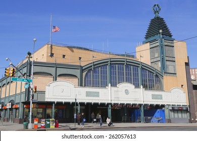 BROOKLYN, NEW YORK - MARCH 19, 2015: Stillwell Avenue subway station in Coney Island. Stillwell Avenue station is the world's largest elevated rail terminal