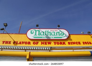 BROOKLYN, NEW YORK - MARCH 19, 2015 : The Nathan's original restaurant sign at Coney Island, New York. The original Nathan s still exists on the same site that it did in 1916.