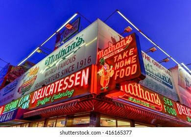 Brooklyn, New York - March 26, 2016: Nathan's Famous Hotdogs is a historic landmark and tradition at Coney Island in Brooklyn, New York.