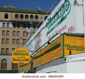 BROOKLYN, NEW YORK - MARCH 29, 2016: The Nathan's original restaurant at Coney Island, New York. The original Nathan's still exists on the same site that it did in 1916.