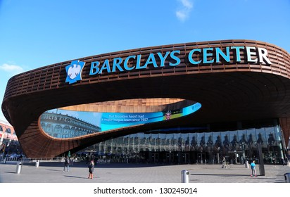 BROOKLYN, NEW YORK - MARCH 3: Newest sport arena Barclays center on March 3, 2013 in Brooklyn, New York. Barclays Center with 18,000 seats serves as the new home of the NBAs Brooklyn Nets.