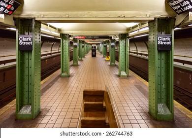 BROOKLYN, NEW YORK - MARCH 8, 2015: MTA Clark Street Subway Station (2, 3) in the Brooklyn Heights area of Brooklyn, New York.