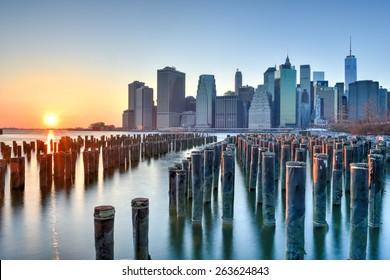 BROOKLYN, NEW YORK - MARCH 8, 2015: New York City Skyline from Brooklyn Heights.