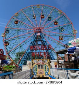 BROOKLYN, NEW YORK - MAY 17, 2014: Wonder Wheel at the Coney Island amusement park.  Deno's Wonder Wheel a hundred and fifty foot eccentric Ferris wheel. This wheel was built in 1920