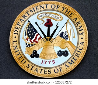 BROOKLYN, NEW YORK - MAY 17:Department of the Army logo at the military base on May 17, 2012 in New York. US Army is the main branch of the US Armed Forces responsible for land-based operations