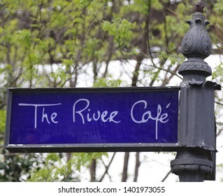 "BROOKLYN, NEW YORK - MAY 2, 2019: Famous 'The River Cafe"" in Brooklyn Bridge Park. Landmark eatery, newly renovated, offering a New American menu & stunning views of Manhattan"