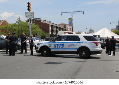 BROOKLYN, NEW YORK - MAY 20, 2018: NYPD provides security during Bay Fest street festival on Sheepshead Bay in Brooklyn