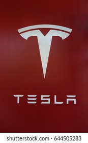 BROOKLYN, NEW YORK - MAY 21, 2017: Tesla Logo sign at the new Tesla dealership at Red Hook in Brooklyn, New York