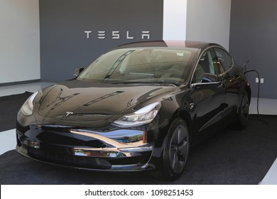 BROOKLYN, NEW YORK - MAY 24, 2018: Tesla car on display at the new Tesla dealership at Red Hook in Brooklyn, New York