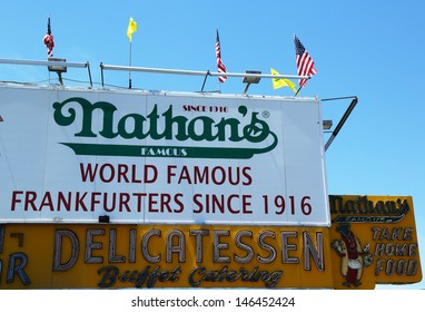BROOKLYN, NEW YORK - MAY 27 : The Nathan's original restaurant sign on May 27, 2013 at Coney Island, New York. The original Nathan's still exists on the same site that it did in 1916.