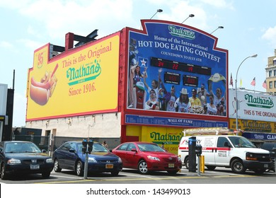 BROOKLYN, NEW YORK - MAY 30: The Nathan s hot dog eating contest Wall of Fame on May 30, 2013 at Coney Island, New York. The original Nathan s still exists on the same site that it did in 1916