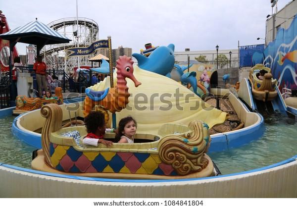BROOKLYN, NEW YORK - MAY 5, 2018: Mermaid parade ride in Coney Island Luna Park.