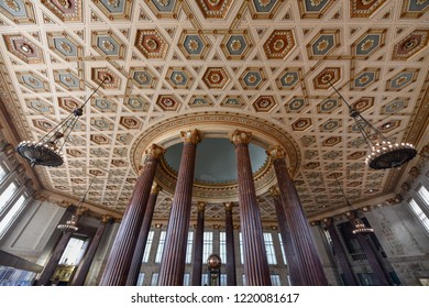 Brooklyn, New York - October 13, 2018: Dime Savings Bank of Brooklyn building interior with classical architecture.