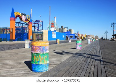 BROOKLYN, NEW YORK - OCTOBER 16: Coney Island Boardwalk before damage by Hurricane Sandy on October 16, 2012 at Coney Island, NY. The boardwalk, built in 1923, stretches for 2.51 miles.