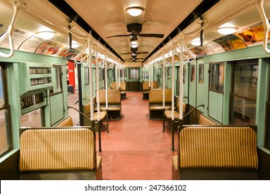 BROOKLYN, NEW YORK - SEPTEMBER 15, 2012: New York Transit Museum with vintage train.