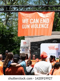 "Brooklyn, New York / United States - June 8, 2019 - Protestors at the ""Walk In Solidarity With Survivors"" to end gun violence. Protestors walked across the Brooklyn Bridge from Brooklyn to Manhattan."