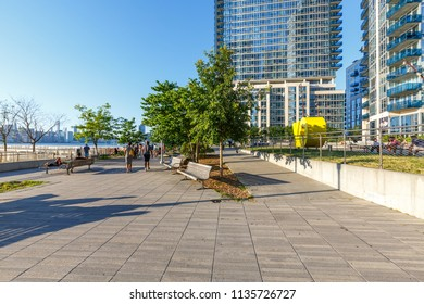 Brooklyn, New York / USA - 07 08 2018: new residential buildings on waterfront Williamsburg