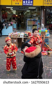 Brooklyn, New York, USA - Jan 26, 2020. Brooklyn Chinese-American Association Chinese New Year Celebration Parade 2020 on 8th Avenue, Brooklyn. Kids with Chinese traditional costume.