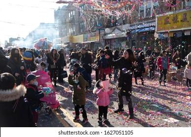Brooklyn, New York, USA - Jan 26, 2020. Brooklyn Chinese-American Association Chinese New Year Celebration Parade 2020 on 8th Avenue, Brooklyn.