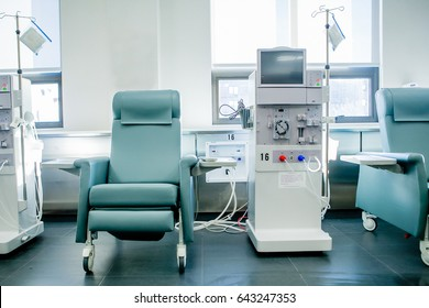 BROOKLYN, NEW YORK USA  – JULY 11 2014: A close-up view of a blood donation chair with new equipment installed.