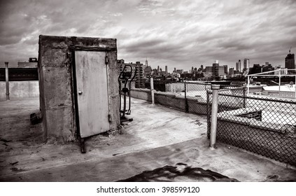 Brooklyn, New York, USA, March 25, 2016: Lower Manhattan skyline from a rooftop in Brooklyn. March 25, 2106 in Brooklyn, NY, USA