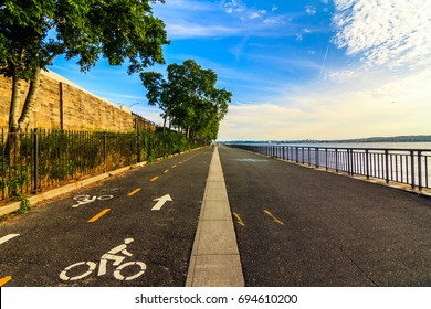 BROOKLYN, NY - 8/10/2017: Midday at Belt Parkway in Bay Ridge with the view of the Belt Parkway and Staten Island in the background.
