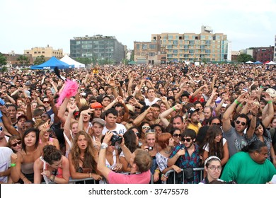BROOKLYN, NY - AUGUST 23:  Fans enjoying the Jelly Pool Party held at East River Park on August 23, 2009 in Brooklyn, NY.