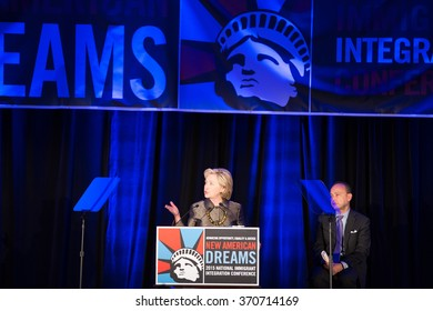 BROOKLYN, NY- DECEMBER 15 2015: Secretary Clinton remarks on immigration at the 8th annual National Immigration Integration Conference.