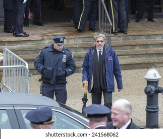 Brooklyn, NY - January 04, 2015: FOX News anchor Geraldo Rivera escorted from ceremony at Aievoli Funeral Home for the funeral of slain New York City Police Officer Wenjian Liu