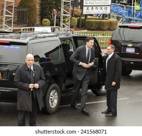 Brooklyn, NY - January 04, 2015: FBI Director James Comey attends ceremony at Aievoli Funeral Home for the funeral of slain New York City Police Officer Wenjian Liu