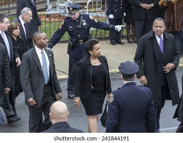 Brooklyn, NY - January 04, 2015: Attorney general nominee Loretta Lynch attends ceremony at Aievoli Funeral Home for the funeral of slain New York City Police Officer Wenjian Liu