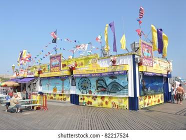BROOKLYN, N.Y. - JUL 18: Grill House is one of many restaurants on Coney Island boardwalk, a peninsula on the Atlantic Ocean in southern Brooklyn, N.Y. populated with amusement parks. July 18, 2010.