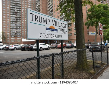 """Brooklyn, NY - July 4, 2018: A sign identifies the Trump Village Cooperative, characterized as the """"flagship"""" of Fred Trump's real estate empire based on a 1976 New York Times piece on Donald Trump."""