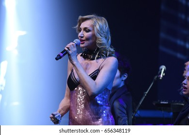 BROOKLYN, NY - JUNE 03: Kristina Orbakaite performs on stage during the Viktor Drobysh 50th year birthday concert at Barclay Center on June 03, 2017 in Brooklyn NY.