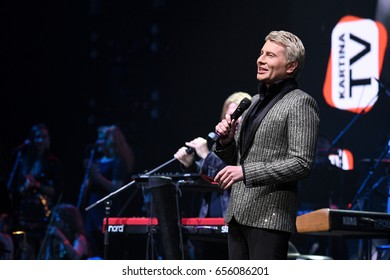 BROOKLYN, NY - JUNE 03: Nikolai Baskov perform on stage during the Viktor Drobysh 50th year birthday concert at Barclay Center on June 03, 2017 in Brooklyn NY.