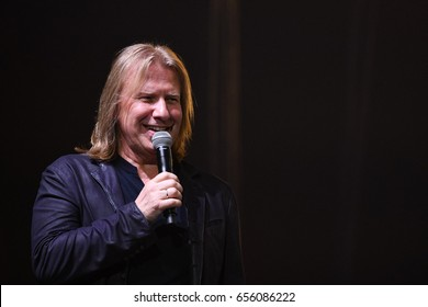 BROOKLYN, NY - JUNE 03: Producer Viktor Drobysh talking to the microphone on stage during the Viktor Drobysh 50th year birthday concert at Barclay Center on June 03, 2017 in Brooklyn NY.