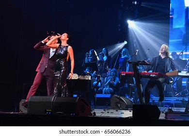 BROOKLYN, NY - JUNE 03: Singer Slava (L) and Stas Piekha (R) perform on stage during the Viktor Drobysh 50th year birthday concert at Barclay Center on June 03, 2017 in Brooklyn NY.