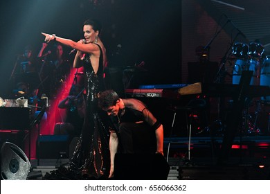 BROOKLYN, NY - JUNE 03: Singer Slava perform on stage during the Viktor Drobysh 50th year birthday concert at Barclay Center on June 03, 2017 in Brooklyn NY.