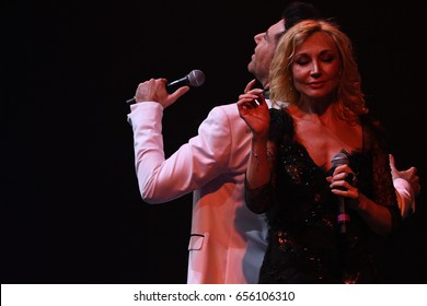 BROOKLYN, NY - JUNE 03: Singers Kristina Orbakaite and Avraam Russo performs on stage during the Viktor Drobysh 50th year birthday concert at Barclay Center on June 03, 2017 in Brooklyn NY.
